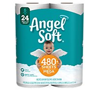Angel Soft Bathroom Tissue 500+ Sheets Mega Rolls 2-Ply White Wrapper - 6 Roll