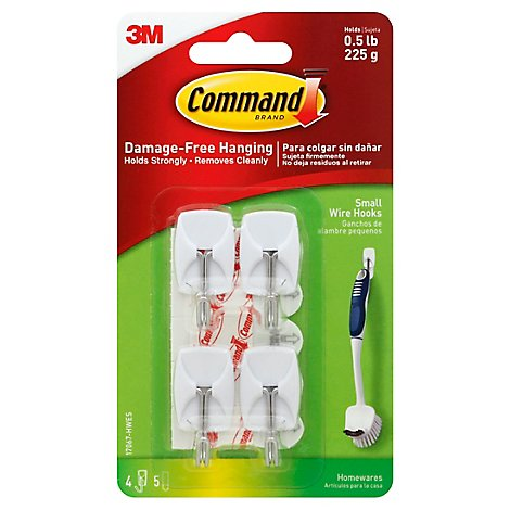 Command Wire Hook 4 Hooks With 5 Strips Small - Each