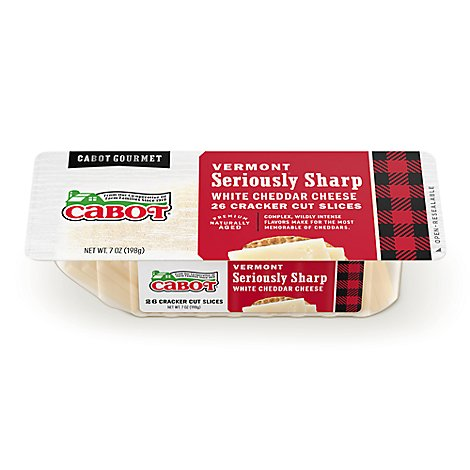 Cabot Cheese Cracker Cut Slices Vermont Seriously Sharp White Cheddar 26 Count - 7 Oz