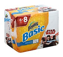 Bounty Basic Paper Towels Select-A-Size Big Rolls 1-Ply Star Wars - 6 Roll