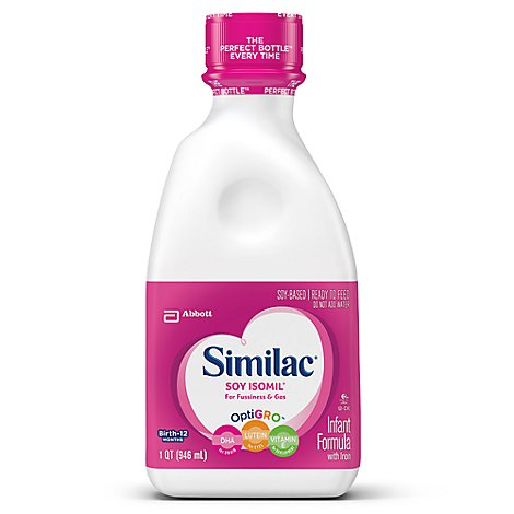 Similac Soy Isomil Infant Formula For Fussiness and Gas With Iron Ready To Feed - 32 Fl. Oz.