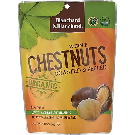 Blanchard & Blanchard Organic Chestnuts Whole Roasted & Peeled Pouch - 5.29 Oz