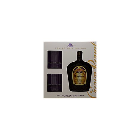 Crown Royal Whisky Blended Canadian 80 Proof Fine De Luxe With 2 Glasses - 750 Ml