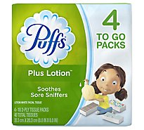 Puffs Facial Tissue Plus Lotion 2-Ply White Purse Pack Wrapper - 4-10 Count