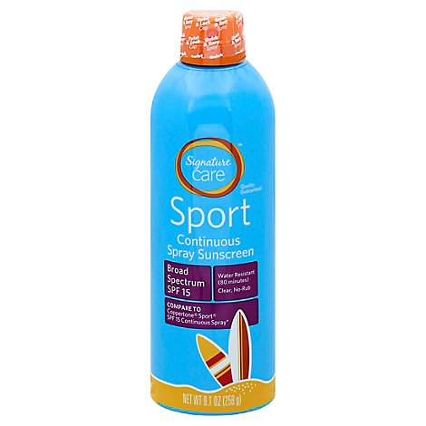 Signature Care Sport Sunscreen Continuous Spray Water Resistant SPF 15 - 9.1 Oz
