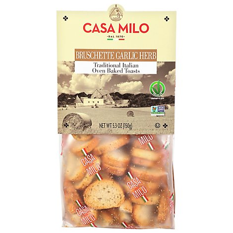 Casa Milo Bruschette Garlic And Herbs - 5.3 Oz