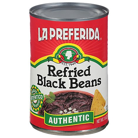La Preferida Beans Refried Black Low Fat Can - 16 Oz