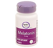 Signature Care Melatonin 5mg Dietary Supplement Tablet - 90 Count