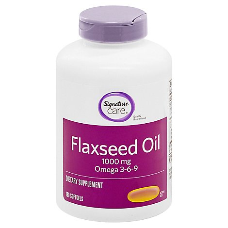 Signature Care Flaxseed Oil 1000mg Dietary Supplement Softgel - 180 Count