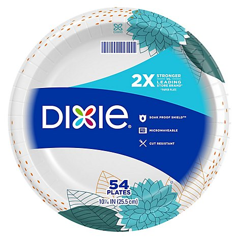Dixie Everyday Paper Plates Printed 10 1/16 Inch - 54 Count