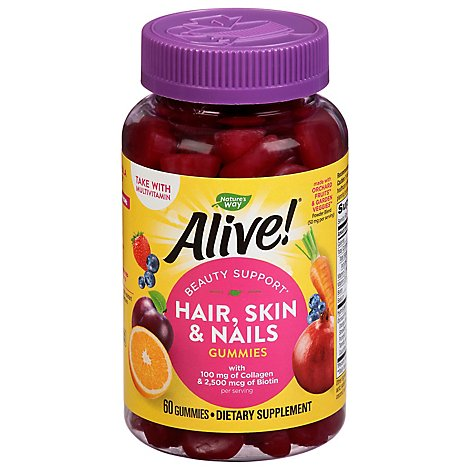 Alive Hair Skin Nails Gummie - 60 Count
