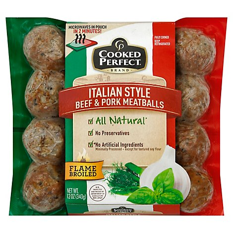 Cooked Perfect Meatballs Beef & Pork Italian Style - 12 Oz