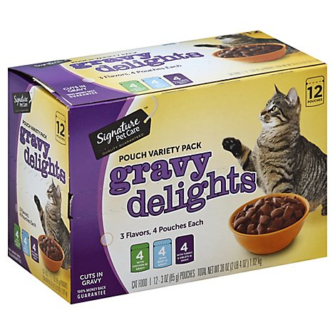 Signature Pet Care Cat Food Gravy Delights Pouch Variety Pack Box - 12-3 Oz