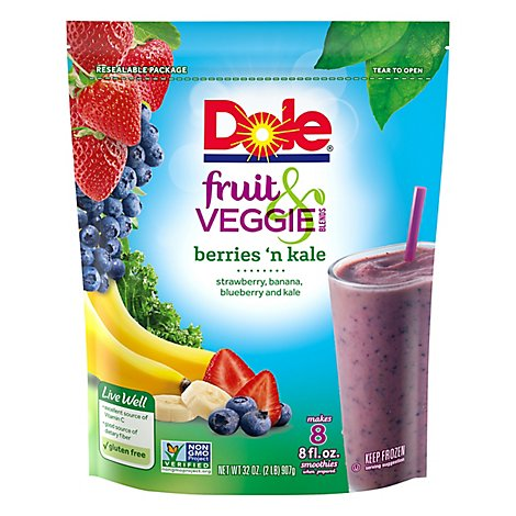 Dole Fruit & Veggie Blends Berries n Kale - 32 Oz