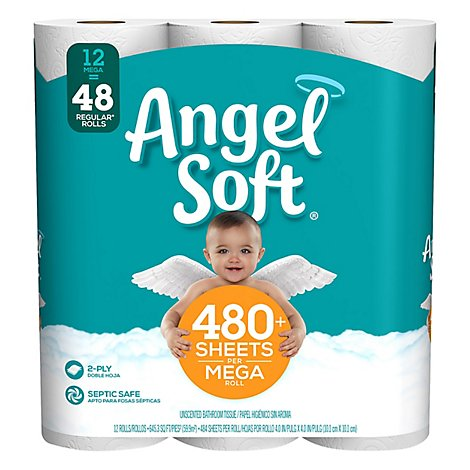 Angel Soft Bathroom Tissue Mega Rolls 2 Ply Unscented - 12 Roll