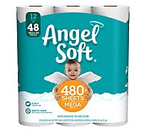 Angel Soft Bathroom Tissue Mega Rolls 2 Ply 484 Sheets Unscented - 12 Roll