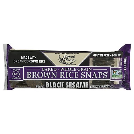 Edward & Sons Snaps Blck Sesame W Brwn Rice - 3.5 Oz