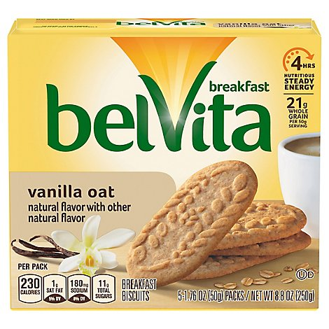 belVita Breakfast Biscuits Vanilla Oat 5 Count - 8.8 Oz