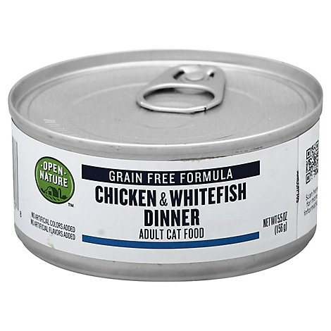 Open Nature Cat Food Adult Grain Free Chicken & Whitefish Dinner Can - 5.5 Oz