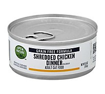 Open Nature Cat Food Adult Grain Free Shredded Chicken Dinner In Gravy Can - 5.5 Oz