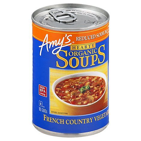 Amys Soups Organic Hearty Reduced Sodium French Country Vegetable - 14.4 Oz