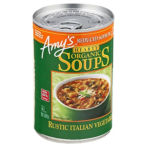 Amys Soups Organic Hearty Reduced Sodium Rustic Italian Vegetable - 14.4 Oz