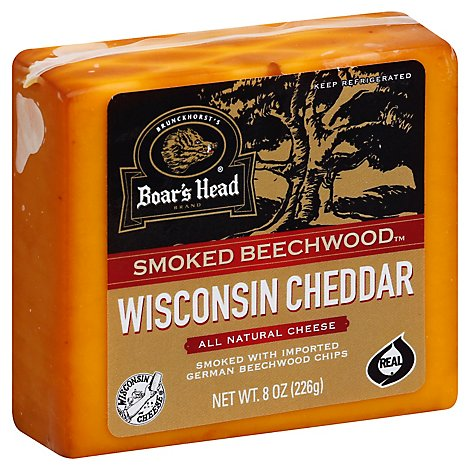 Boars Head Cheese Pre Cut Cheddar Smoked Beechwood Wisconsin - 8 Oz