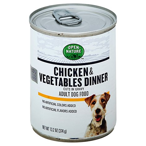Open Nature Dog Food Adult Chicken & Vegetables Dinner Cuts In Gravy Can - 13.2 Oz