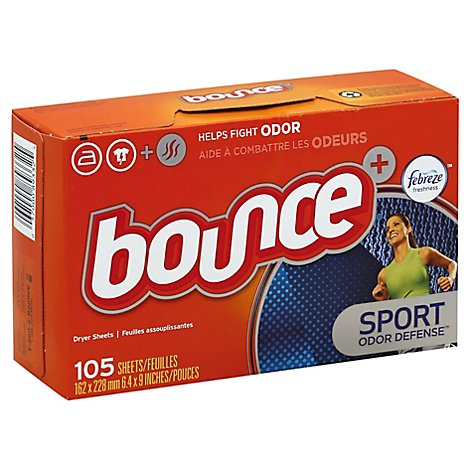 Bounce Plus Febreze Fabric Softener Dryer Sheets Sport Odor Defense - 105 Count