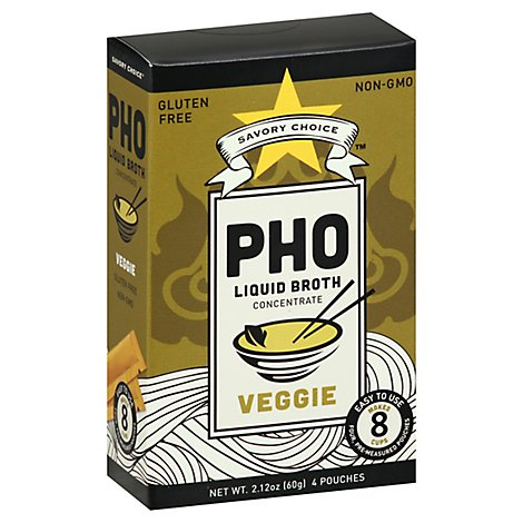 Savory Choice Broth Liquid Concentrate Authentic Pho Veggie Flavor Pouches - 2.12 Oz