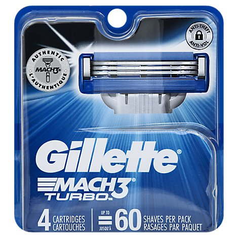 Gillette MACH3 Turbo Cartridges - 4 Count