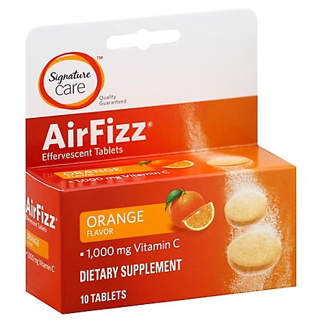 Signature Care Air Fizz Dietary Supplement VitC 1000mg Effervescent Tblt Orng - 10 Count