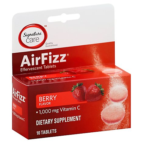 Signature Care Air Fizz Dietary Supplement VitC 1000mg Effervescent Tblt Brry - 10 Count