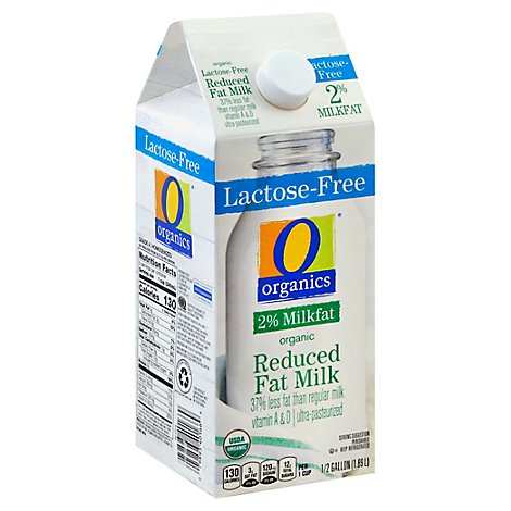 O Organics Organic Milk Reduced Fat 2% Milkfat Lactose Free Half Gallon - 1.89 Liter