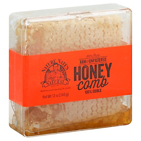Nature Nates Honey Comb Raw & Unfiltered Edible - 12 Oz