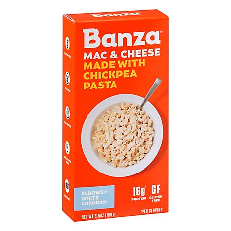 Banza Mac and Cheese Chickpea Pasta White Cheddar Box - 5.5 Oz