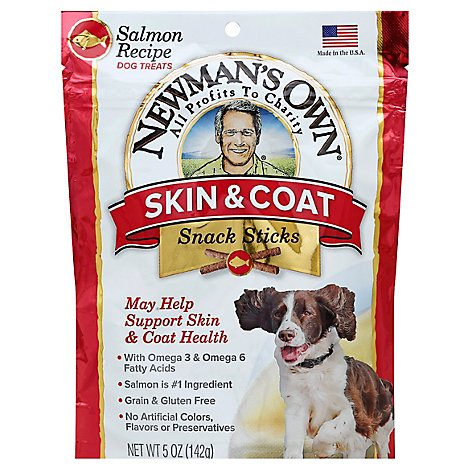Newmans Own Dog Treat Snack Sticks Skin & Coat Salmon Recipe Pouch - 5 Oz