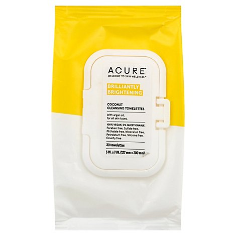Acure Towelettes Argan Oil Coconut - 30 Count