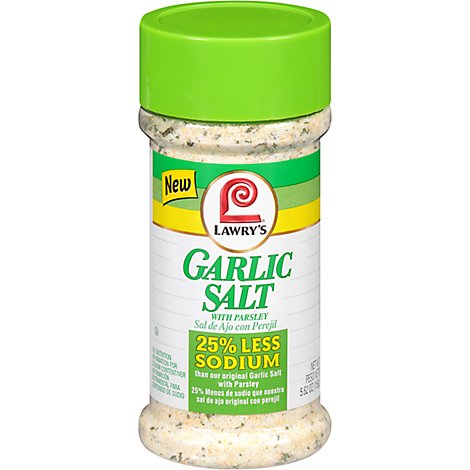 Lawrys 25% Less Sodium Garlic Salt With Parsley 5.62 Oz
