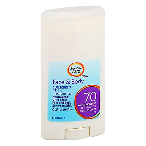 Signature Care Sheer Sunscreen Stick Face & Body Water Resistant SPF 70 - 1.5 Oz