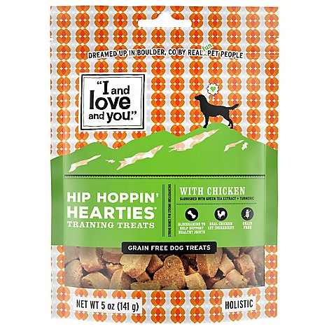 I And Love And You Dog Treat Hip Hoppin Hearties with Chicken Pouch - 5 Oz