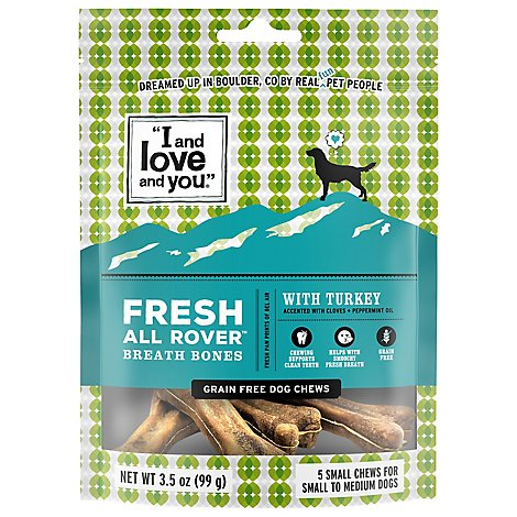 I And Love And You Dog Chews Fresh All Rover with Turkey Pouch 5 Count - 3.5 Oz