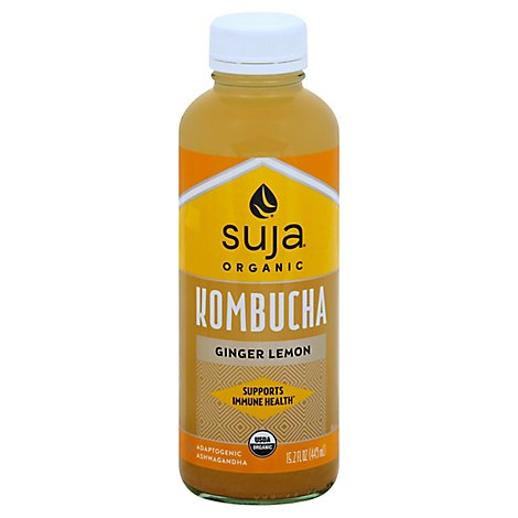 Suja Organic Juice Cold Pressed Ginger Lemon Kombucha - 15.2 Fl. Oz.