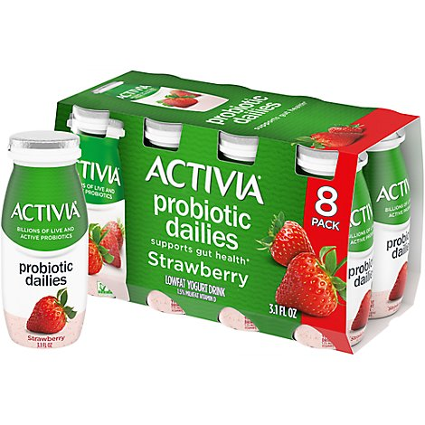 Activia Probiotic Dailies Yogurt Drink Lowfat Strawberry - 8-3.1 Fl. Oz.