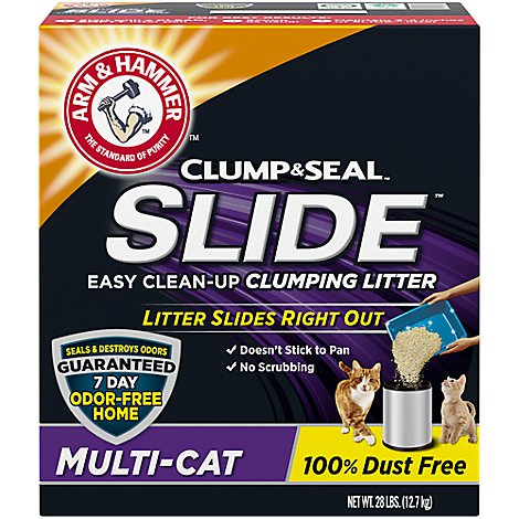 ARM & HAMMER Cat Litter Clumping Slide Easy Clean-Up Multi-Cat Box - 28 Lb
