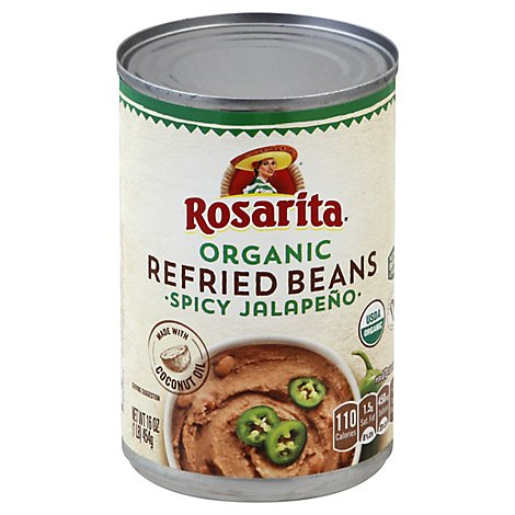 Rosarita Beans Refried Organic Spicy Jalapeno Can - 16 Oz