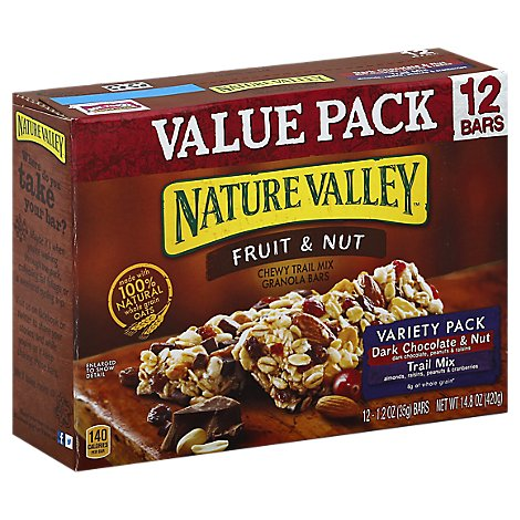 Nature Valley Granola Bars Chewy Trail Mix Fruit & Nut Variety Pack Value Pack - 12-1.2 Oz