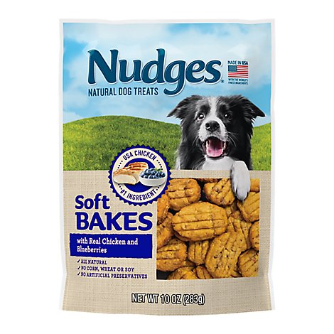 Nudges Dog Treats Soft Bakes Natural Ingredients Real Chicken and Blueberries Pouch - 10 Oz