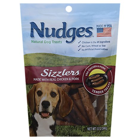 Nudges Dog Treats Sizzlers Natural Ingredients Real Chicken & Pork Pouch - 12 Oz