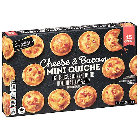 Signature SELECT Quiche Mini Cheese & Bacon 15 Count - 11.2 Oz